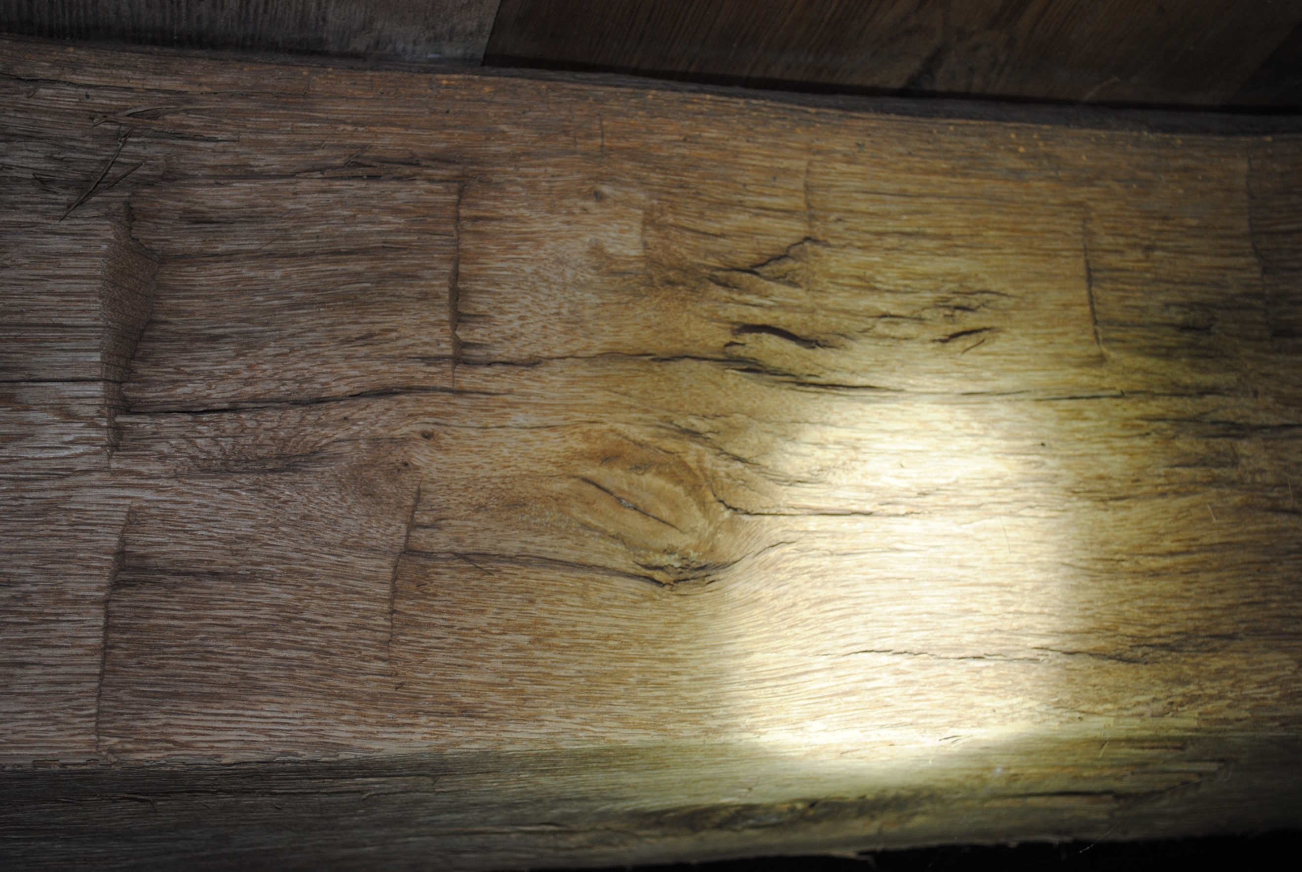 Axe marks on beams